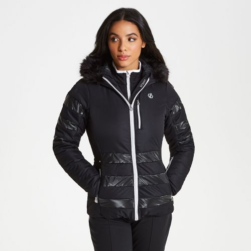Women's Snowglow Faux Fur Trim Luxe Ski Jacket Black
